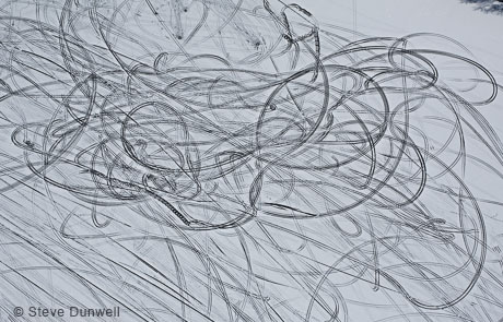 Spinning patterns on pond ice, aerial view, Salem, NH