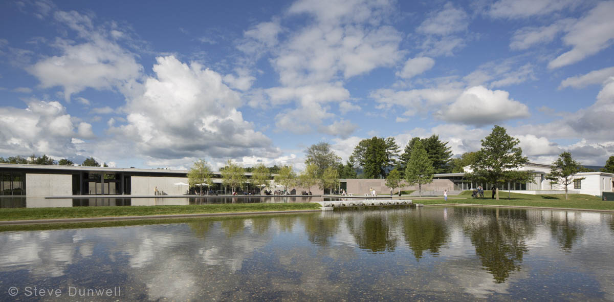 The Clark Museum, Williamstown, MA, with its magnificent new addition and reflecting pools.  (Tadeo Ando = architect; Reed Hildebrand = landscape architect)