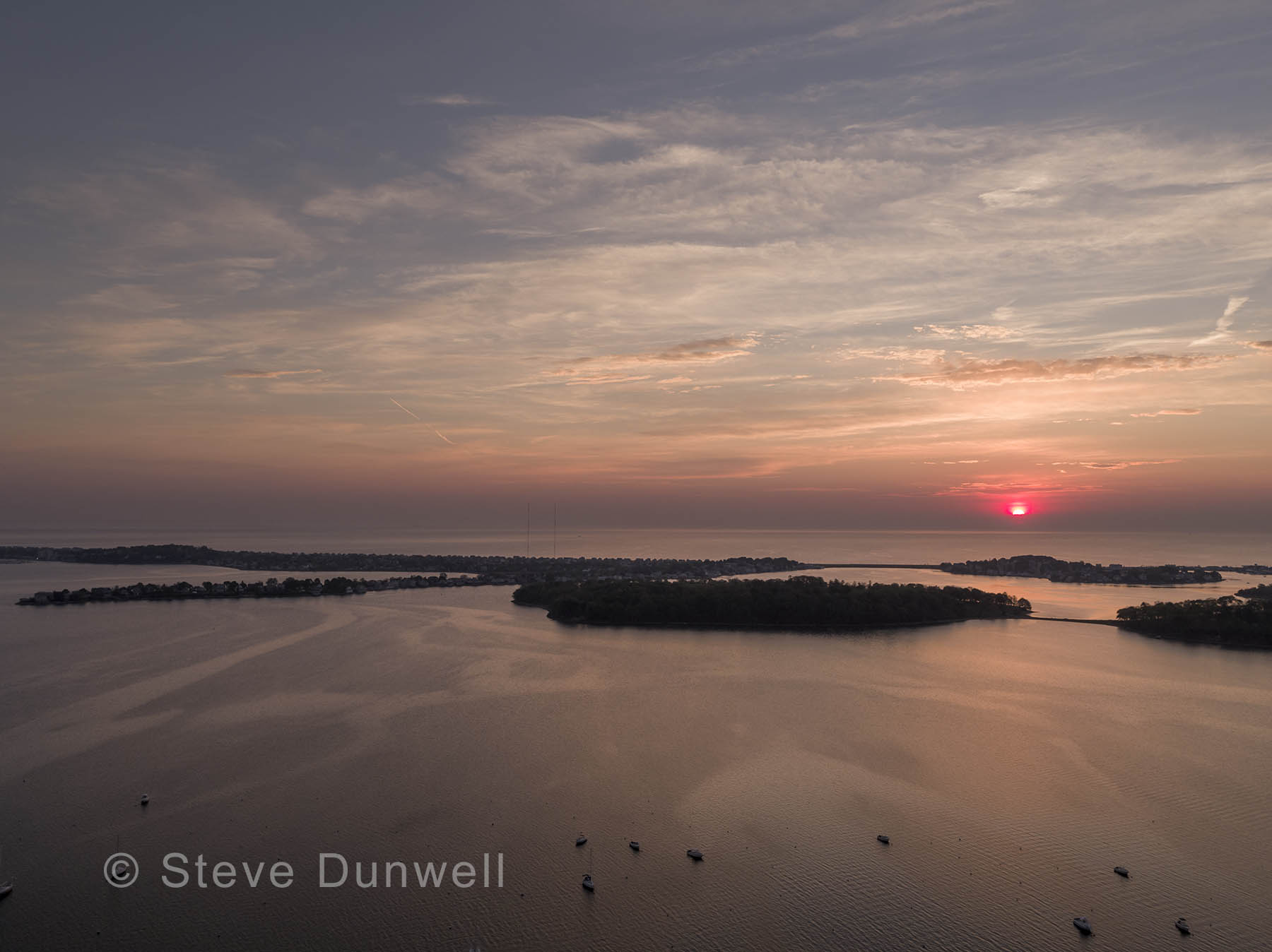 Sunrise aerial, Hull, MA view towards Nantasket Beach