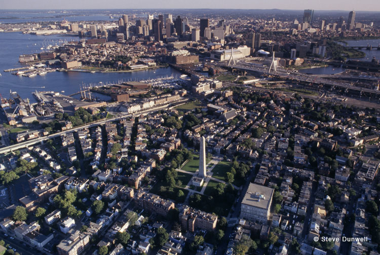 Bunker Hill aerial view, Charlestown, MA