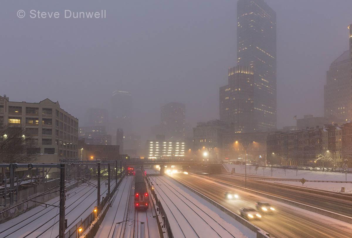 Mass Pike corridor, snow, winter, Boston, MA