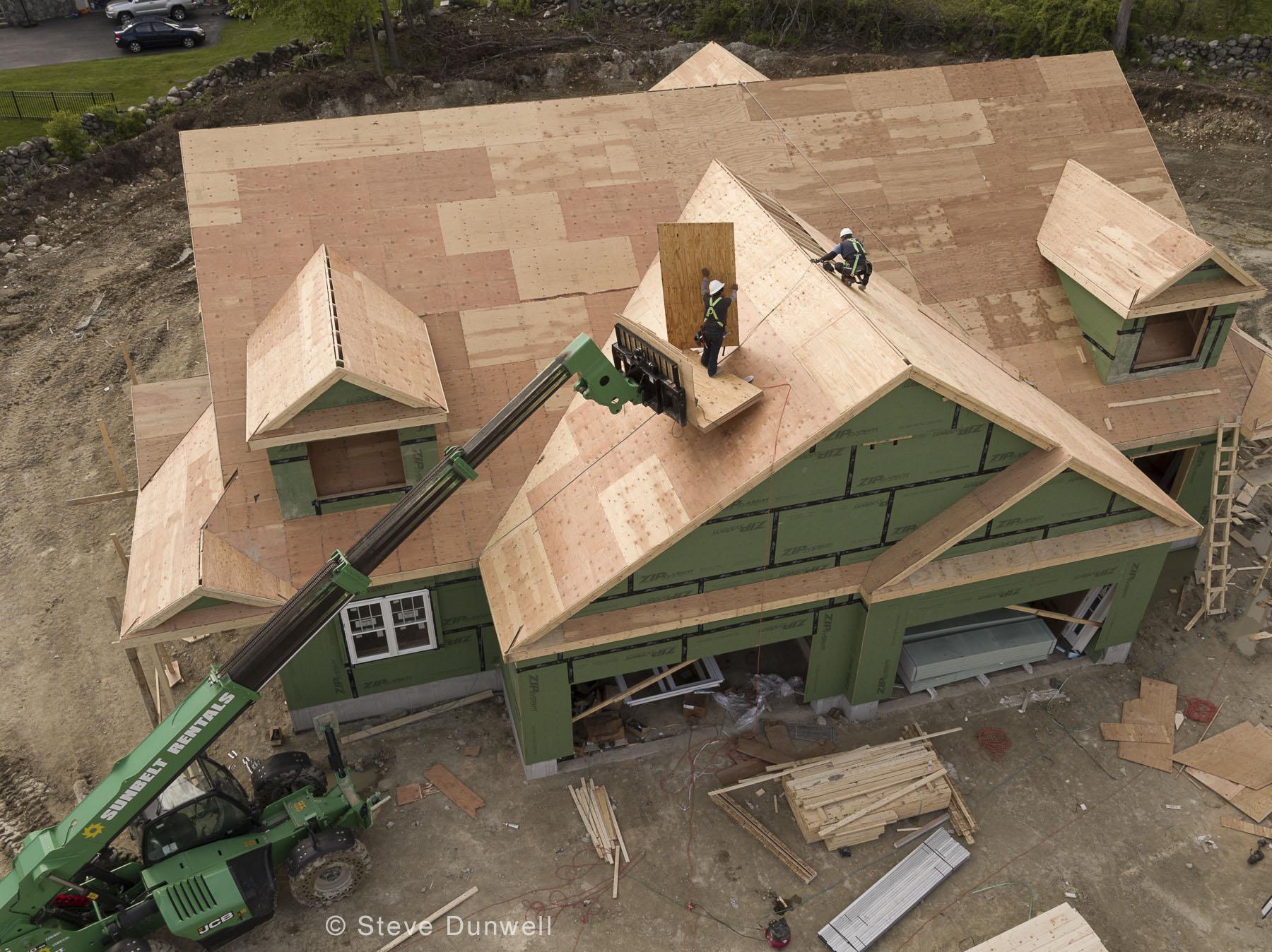 House construction aerial, Dracut, MA