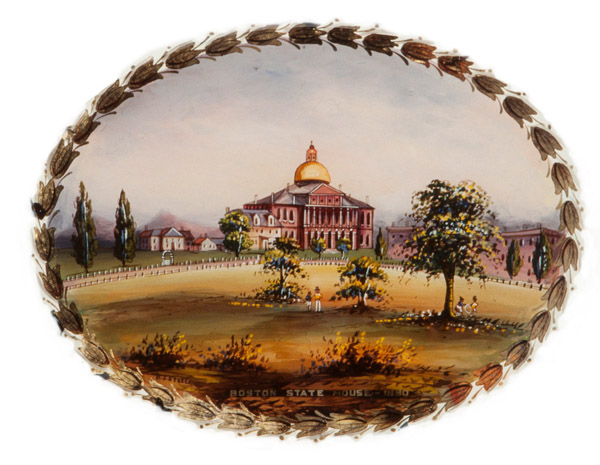 the Massachusetts State House, as shown on a Banjo clock ca 1860