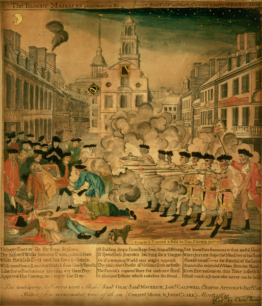 Boston Massacre, by Paul Revere, from MFA