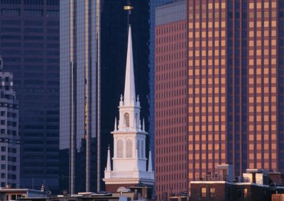 Old North Church steeple, Boston, MA with downtown office buildings